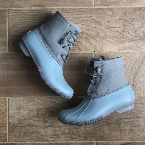 Light Grey Pale Blue Sperry Duck Boots